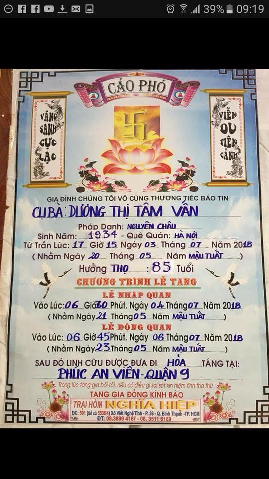 VINH BIET DANH CA TAM VAN (1934-2018)